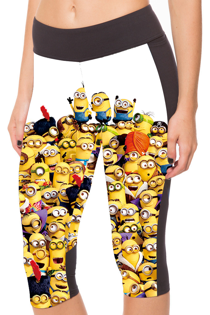 2016 New Arrival 3 Patterns Cartoon Minions Printing Yellow Capris Leggings For Women Active Jogging Pants ...