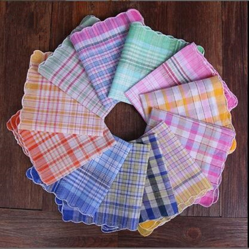 12Pcs Random Color Womens Ladies Cotton Soft Printed Handkerchief Mixed Color Plaid Pocket Square Hankies 28x28cm BBB1062