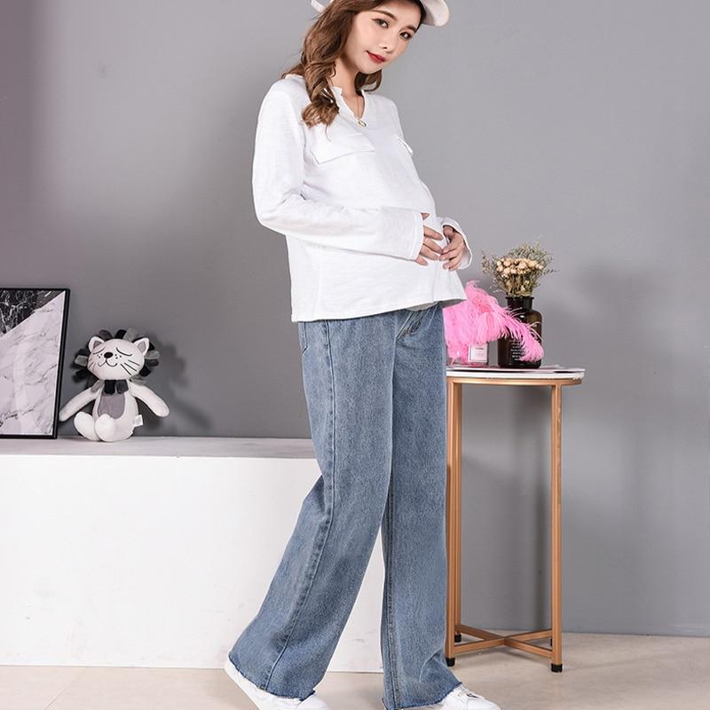 Women Pregnancy Denim Wide Leg Pants Pregnant Loose Elastic Waist Trousers  Plus Size Bottoms Maternity Clothes Big Size