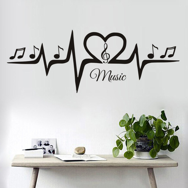 Musical Vinyl Wallpaper: Musical Treble Clef Notes Music Wall Stickers Living Room