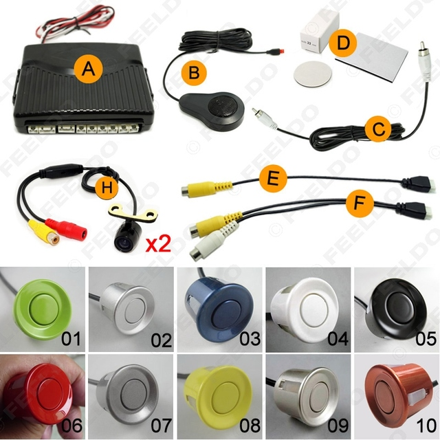 Car 6-Sensor Parking Sensor with 2pcs Mini Camera Dual Visual Rearview Video Parking Backup Radar System 10-color  #FD-1349