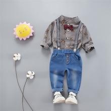 Basacomie(4 шт./партия) Новинка осенняя одежда Банни рубашка и джинсовый низ 2 шт. комплект Комплекты одежды для мальчиков 071214