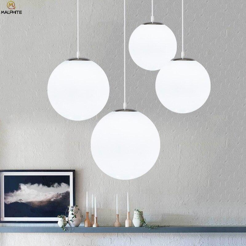 Nordic White Glass Ball Pendant Lights Modern LED Living Room Hanglamp Pendant Lamp Restaurant Bar Aisle Bubble Ball Luminaire