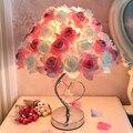 Candeeiro de mesa europeu llamp rosa flor led night light lâmpada cabeceira casa decoração festa casamento atmosfera luz da noite iluminação do sono