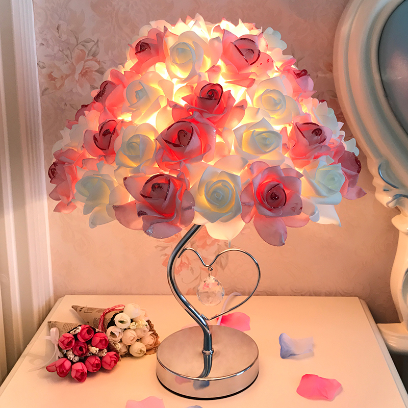 European Table Llamp Rose Flower LED Night Light Bedside Lamp Home Wedding Party Decor Atmosphere Night Light Sleep Lighting