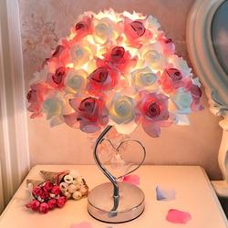 Mesa europea llamp Rosa flor LED de luz de la noche lámpara de Casa decoración del banquete de boda atmósfera luz de noche dormir iluminación