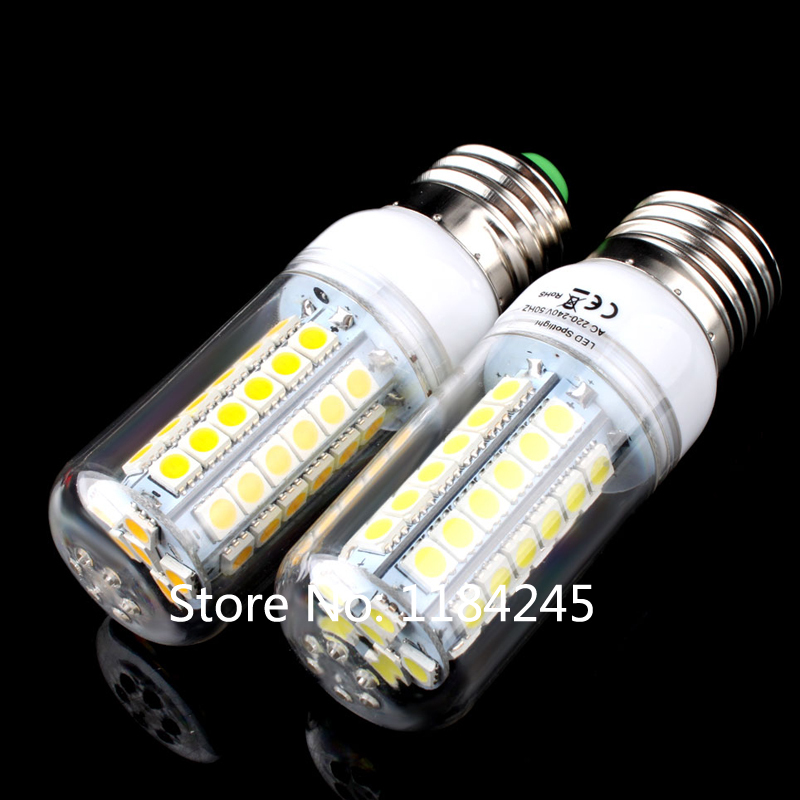 E27 48 LED 5050 SMD 9W Cover Corn 220V Light Lamp Bulb Warm Pure White Free Shipping 4pcs/lot