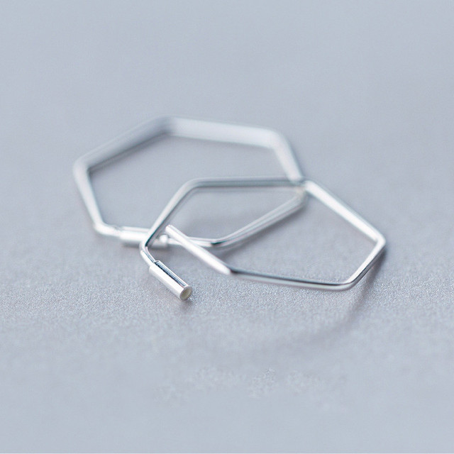925 Sterling Silver Geometric Hollow Polygon Hoop Earrings