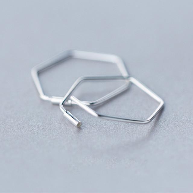925 Sterling Silver Geometric Hollow Polygon Hoop Earrings
