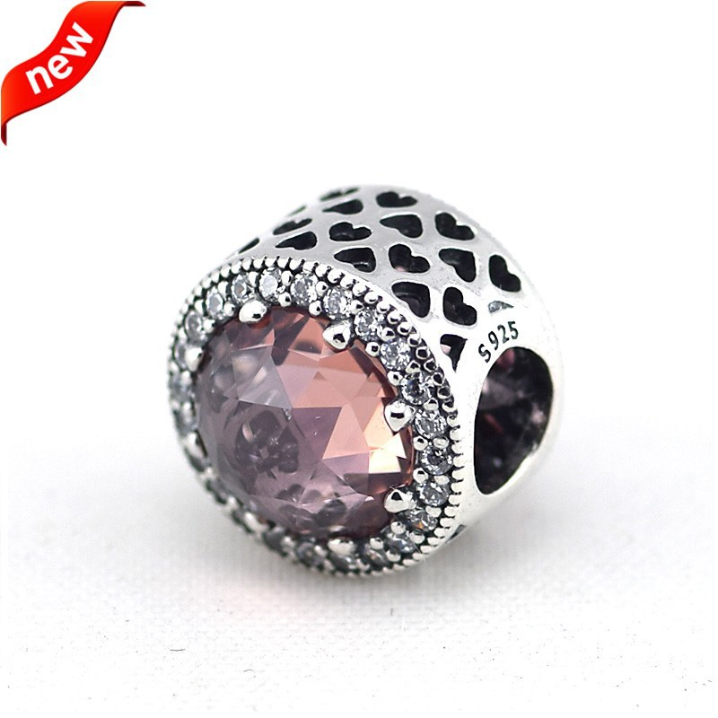 925 Sterling Silver Jewelry Radiant Hearts, Blush Pink Crystal Original Chamrs DIY Beads Fits Pandora Bracelets CKK