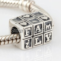 1PCS Lot Free Shipping 100 925 Sterling Silver Beads Family Charms Fit Pandora Style Bracelets Troll