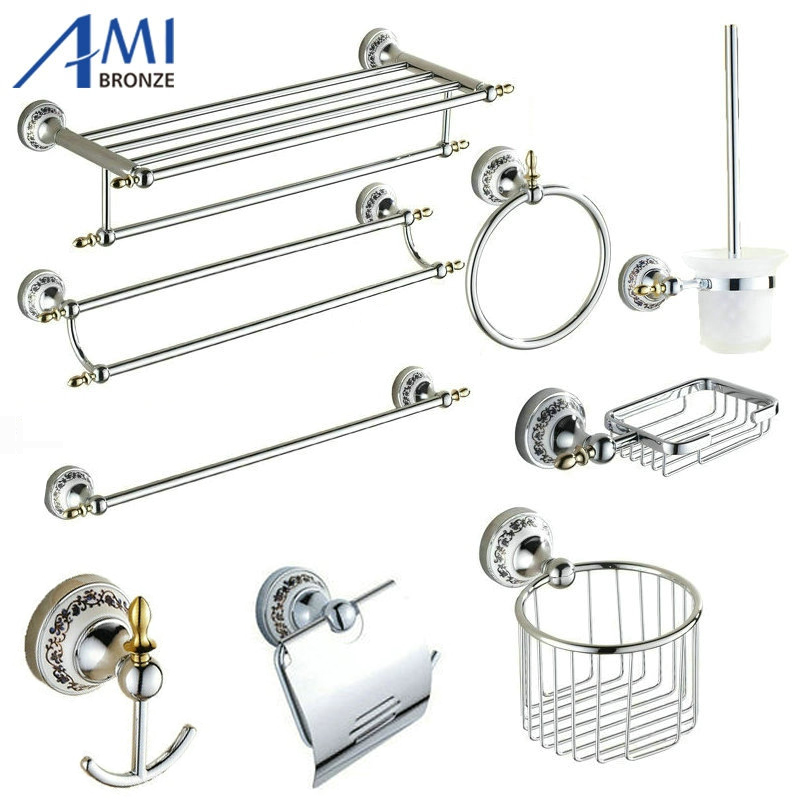 81CP Series Chrome Polished Porcelain Bathroom accessories Bath Hardware Towel Shelf Towel Bar Paper Holder Cloth Hook luxury european brass bathroom accessories bath shower towel racks shelf towel bar soap dishes paper holder cloth hooks hardware page 3