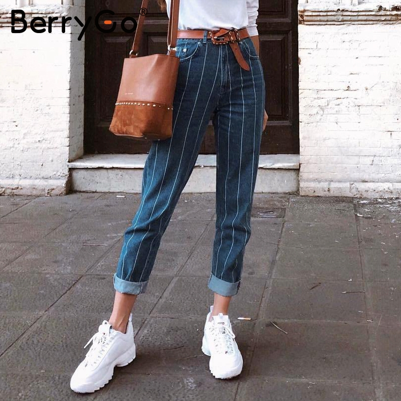 BerryGo Sexy stripe denim pants women pants Fashion zipper pocket blue jeans Casual streetwaer skinny slim autumn trousers 2018