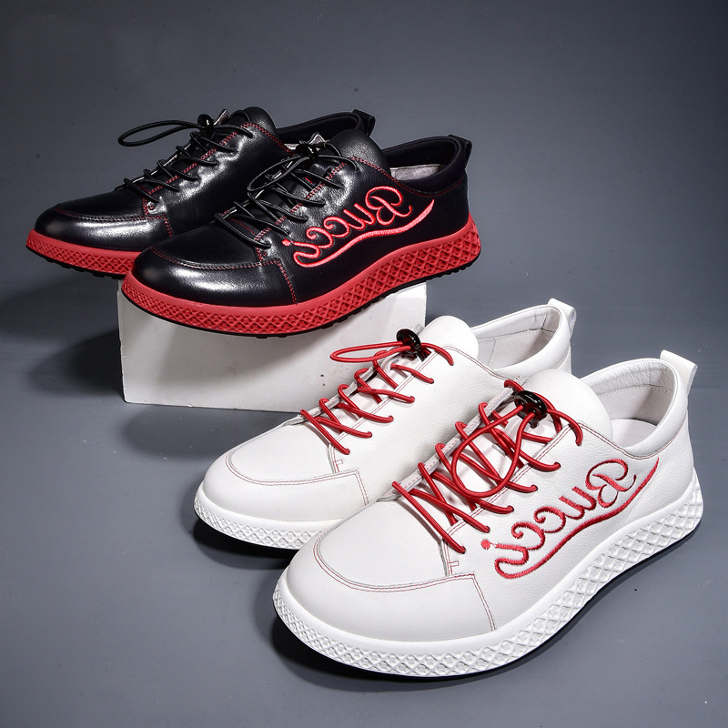 Brands Summer Fashion Men black white Shoes Cowhide Flat Shoes Loafers Letter embroidery enuine Leather Skate jogging shoes male цена 2017