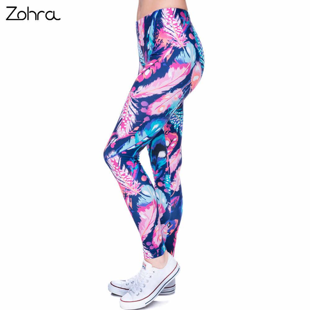 2ba73bf78069f8 Zohra High Quality Leggings Feathers Color Printing Fitness Legging  Elasticity Leggins High Waist Slim Sexy Legins