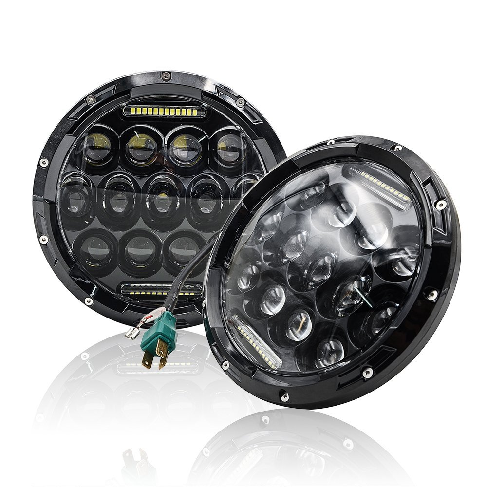 7INCH Round H4 LED Headlight 75W High / Low Beam Black Housing for Harley Davidson Motorcycle Jeeps Wrangler Headlight for jeep wrangler 7inch led headlight high low beam round led headlight with drl for wrangler 07 15 harley davidson motorcycle