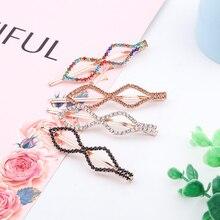 New Arrival Korean Women Girls Hair Clip Colorful Rhinestone Diamond Shaped Barrettes U-shaped Hairpin Accessories Gift