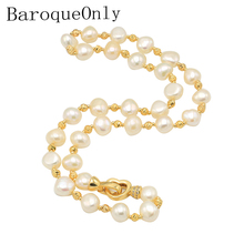 ФОТО baroqueonly vintage aaa zircon heart buckle loose beads strand natural freshwater pearl choker necklace for womens natural ni