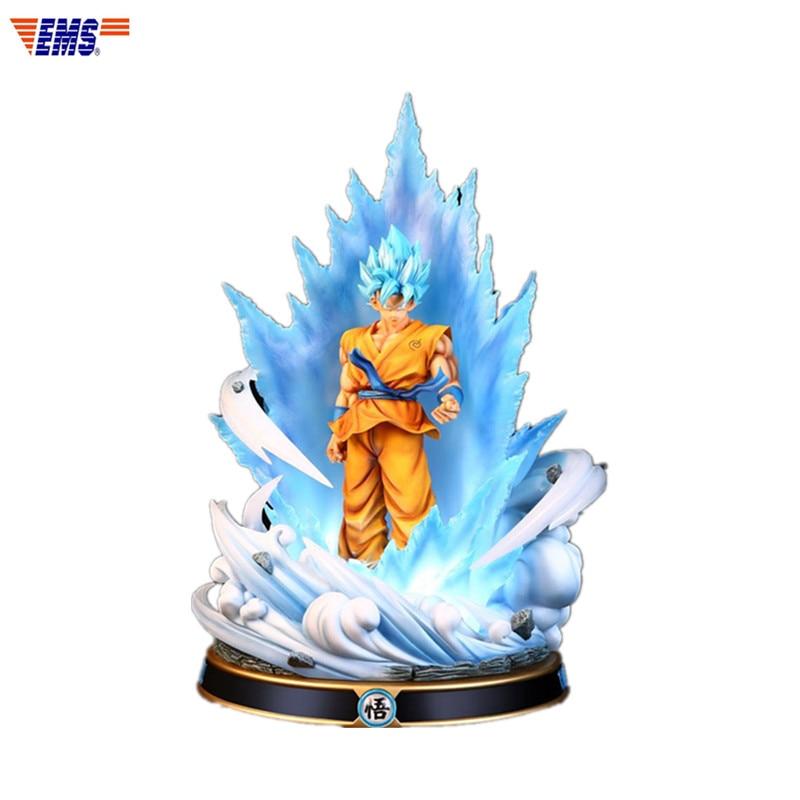 Anime Dragon Ball Z Super Saiyan Blue Hair Son Goku Resin With LED Light Statue Action Figure Model Toy X299Anime Dragon Ball Z Super Saiyan Blue Hair Son Goku Resin With LED Light Statue Action Figure Model Toy X299