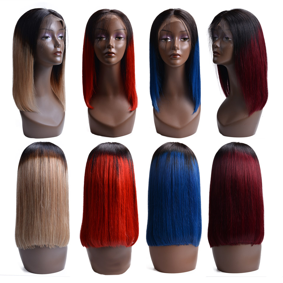 Straight Short Bob Lace Front Human Hair Wigs Natural Color Indian Remy Hair 130 Denisty Bob