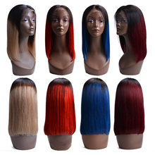 Straight Short Bob Lace Front Human Hair Wigs Natural Color Indian Remy Hair 130 Denisty Bob Wigs For Black Women(China)