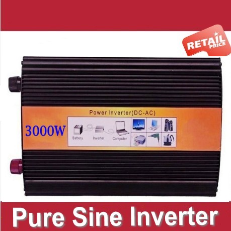3KW Pure Sine Wave Inverter DC12V to AC120V Off Grid Solar Battery PV System Power Inverter 3000W off grid home solar system 1000w 12v to 220v dc ac type power inverter ce iso9001 pure sine wave inverter with european socket