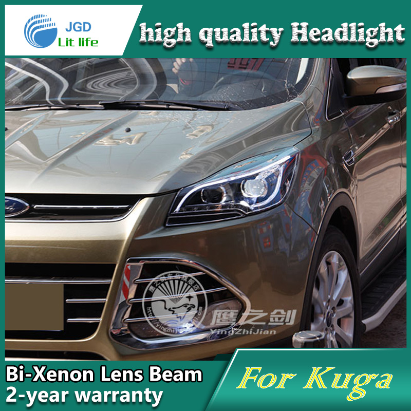 Car Styling Head Lamp case for Ford Kuga 2013 Headlights LED Headlight DRL Lens Double Beam Bi-Xenon HID car Accessories 1 pcs diy car styling new pu leather free punch with cup holder central armrest cover case for ford 2013 fiesta part accessories