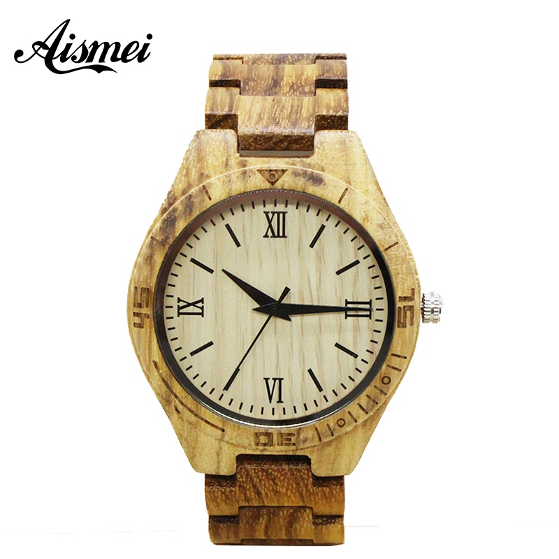 2018 Classical Men Full Wooden Watches Bamboo Luxury Vintage Roman numerals Dial Male Quartz Wristwatch Gift For male