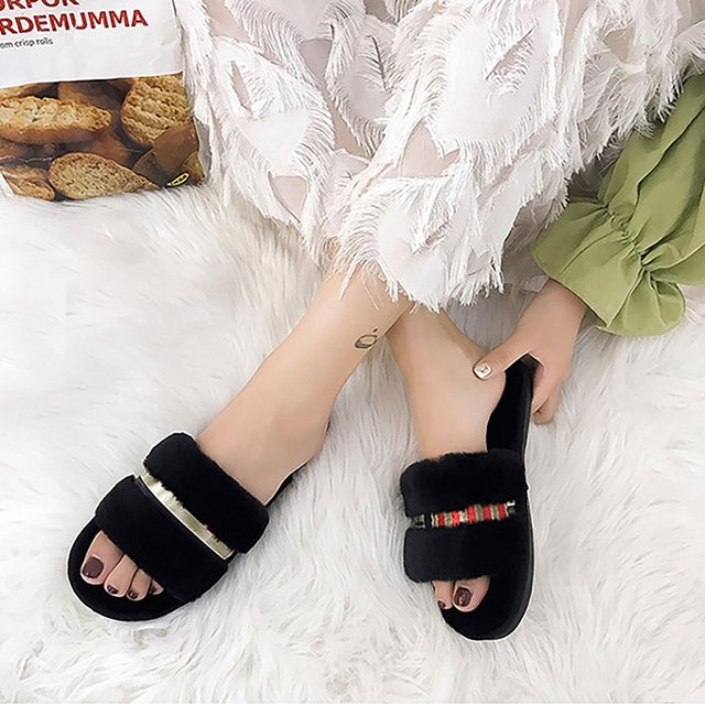 a82c686f0dc1 Winter Fashion Women Home Slippers Faux Fur Warm Shoes Woman Slip on Flats Female  Fur Flip
