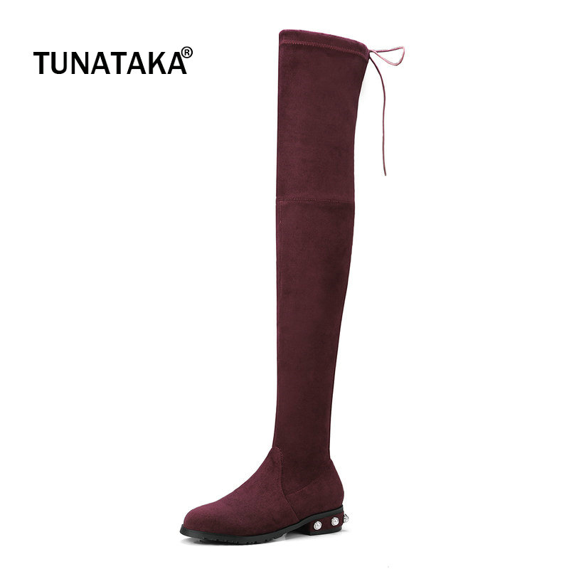 Suede Comofrt Flat With Woman Over The Knee Stretch Boots Fashion Lace Up Dress Thigh Boots Woman Black Wine Red