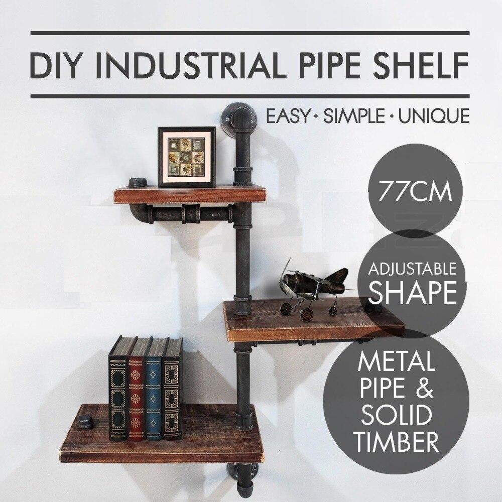 Industrial Wooden Wall Shelf Iron Pipe Rustic Storage Shelves Towel Rack Holders