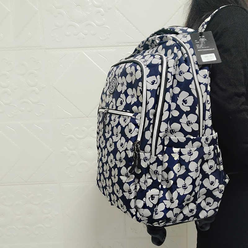 Женская дорожная сумка на колесах с пластиковым каркасом 20 дюймов сумка тележка подвижного Чемодан большой вместительности рюкзаки водонепроницаемый сумка для переноски на сумки, чемоданы
