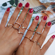 Bohopan 10PCS/Set Hot Sales Gold Color Ring Set Exquisite Luxury Water Drop Crystal Rings Mixed Style Wedding Party Women
