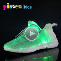 Luminous Fabric Light Up Kids Shoes LED fiber optic shoes Teenager For Girls Boys USB Rechargeable Children Glowing Sneakers
