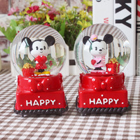 Cartoon Mickey Minnie Crystal Ball Music Box Creative Fashion Home Decorations Birthday Gifts for Children