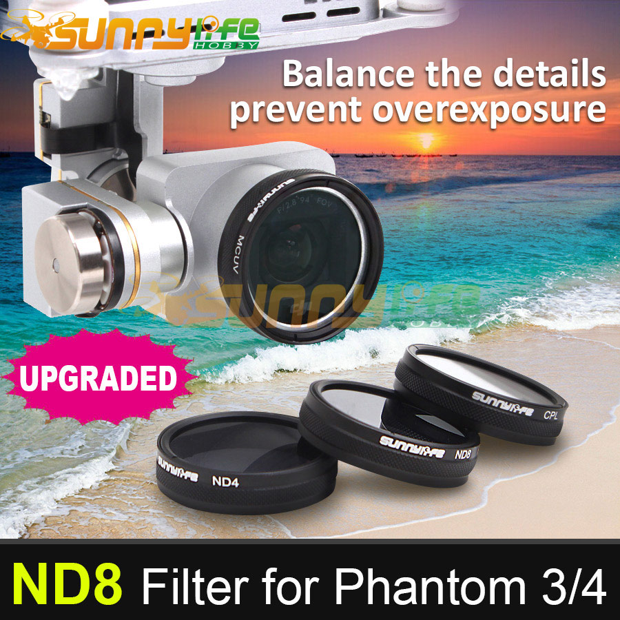 Sunnylife DJI Phantom 3/4 Accessory ND8 Dimmer ND-8 Light Microscopy Lens Filter for Phantom 4/3 ProfessionalAdvancedStandard
