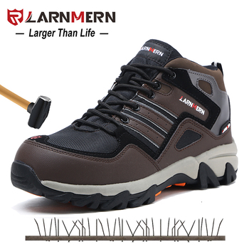 LARNMERN Men Steel Toe Safety Shoes Winter Warm Fur Snow Ankle Boots Reflective Stripe Outdoor Special Work Footwear Shoes