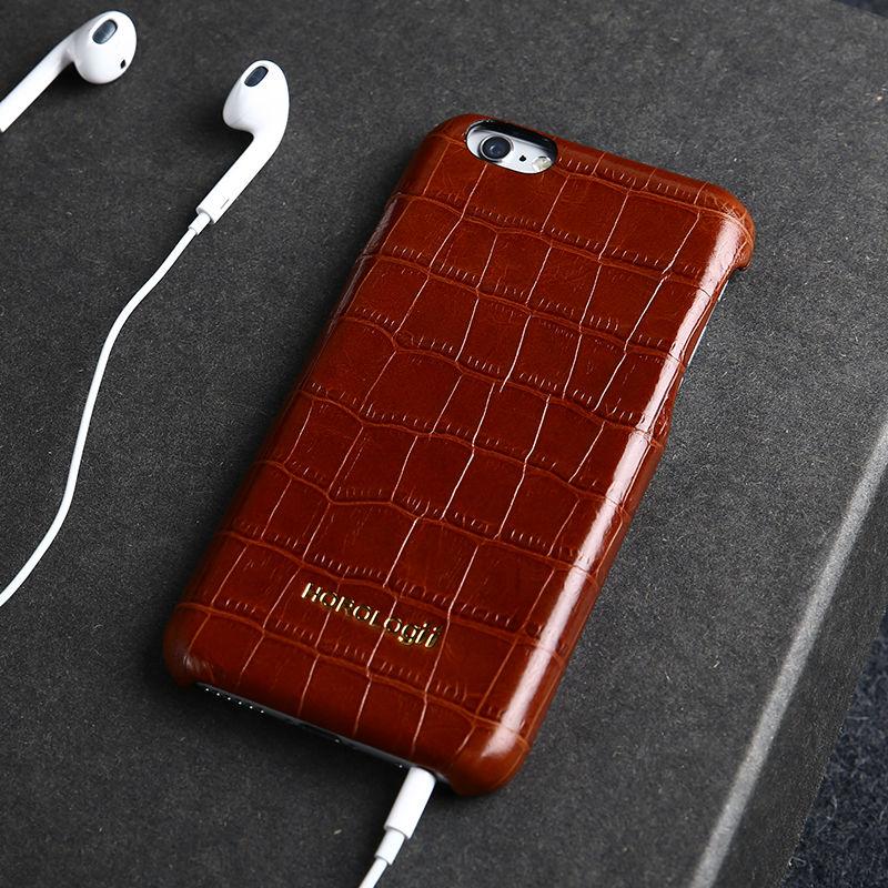 Genuino de lujo de cuero real del teléfono case cover para iphone 6 6 s 7 plus teléfono accesorios nombre personalizado patrón de piel de cocodrilo case