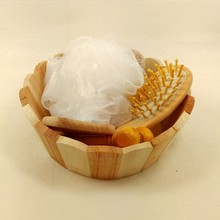 5 Items/set Wood casks+Massage Comb+Bath sponge+Body face massage+wood mirror bathroom accessory bath set