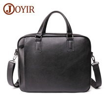 JOYIR Genuine Leather Man Briefcase Men 15.6 Laptop Business Male Crossbody Shoulder Bag For