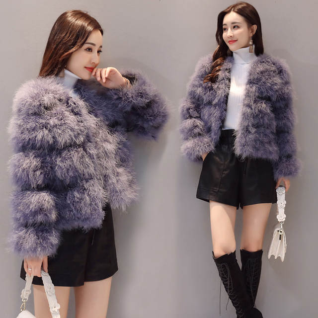 76a8261b1f3 placeholder 2018 Fashion sexy Ostrich wool turkey fur women coat feather  short plus size jacket winter festival