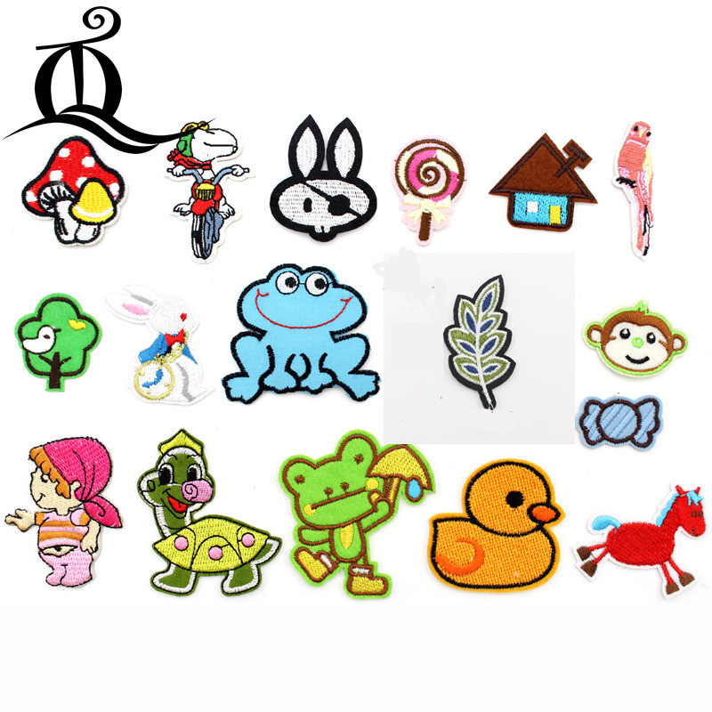 1pcs Sewing Clothes Frog mushroom horse Embroidery Patches Hotfix Applique Motifs Sew On cartoon animal Lips kid Lipstick Patch
