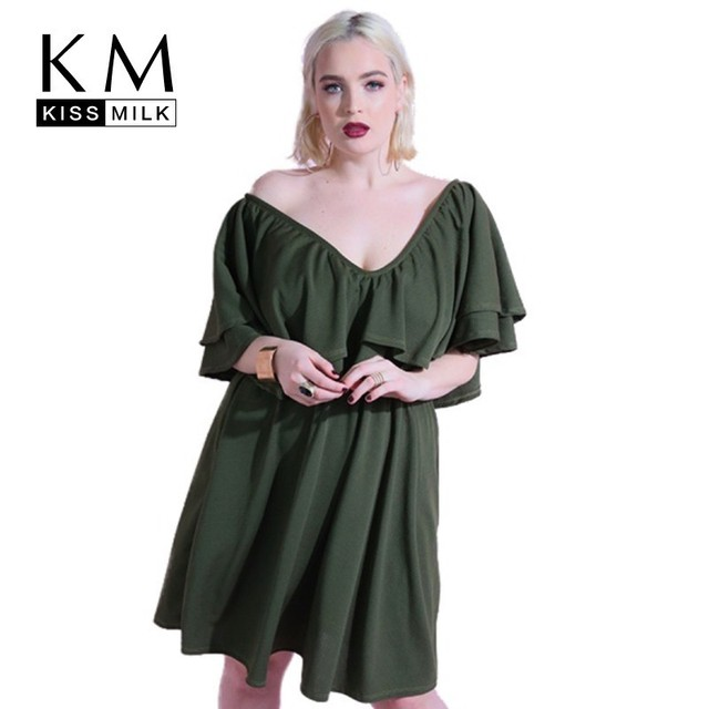 Kissmilk Plus Size Women Dress Simple Sexyv-neck Ruffled Pleated Dark Green Dress