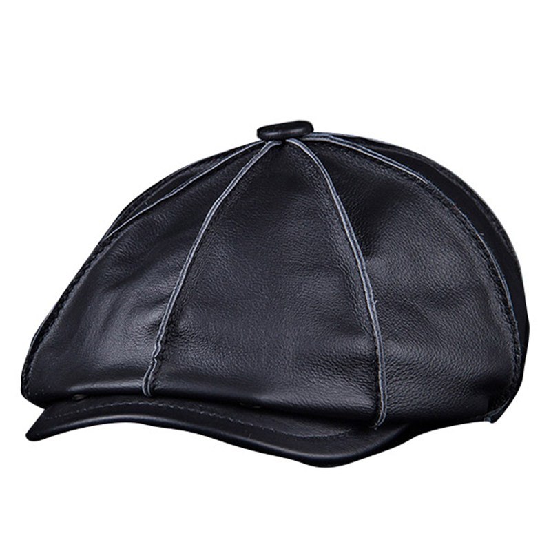 4972fb8e47a0a0 Men's Genuine Leather Warm Octagonal Cap, Casual Vintage Newsboy Cap Golf  Driving Flat Cabbie Hat, Winter Male Artist Gatsby Cap-in Berets from  Apparel ...