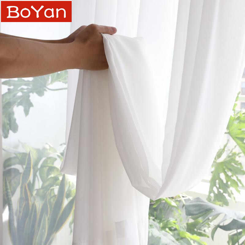 Super Soft Great Hand Feeling White Tulle Curtains for Living Room Decoration Modern Veil Chiffon Solid Sheer Voile Kitchen