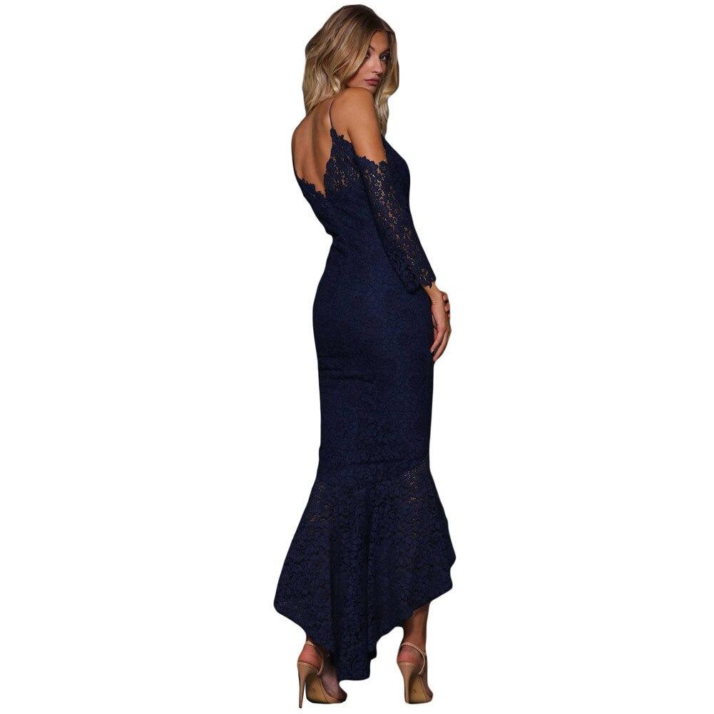 MUXU autumn fashion black lace backless long sleeve suspender dress robe femme long dress roupas elegant v neck clothes elegant in Dresses from Women 39 s Clothing