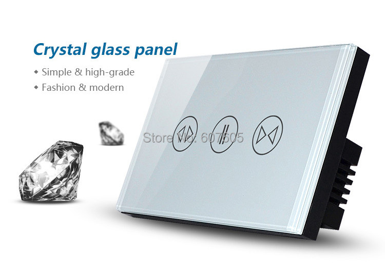 ФОТО Free Shipping US / AU Type New Touch Screen Electric Curtain Switch, White Crystal Glass Panel+blue LED indicator
