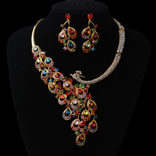 2016 Fashion Gorgeous Multicolour Crystal Peacock Wedding jewelry sets Clear Silver rhinestone jewelry sets for Women