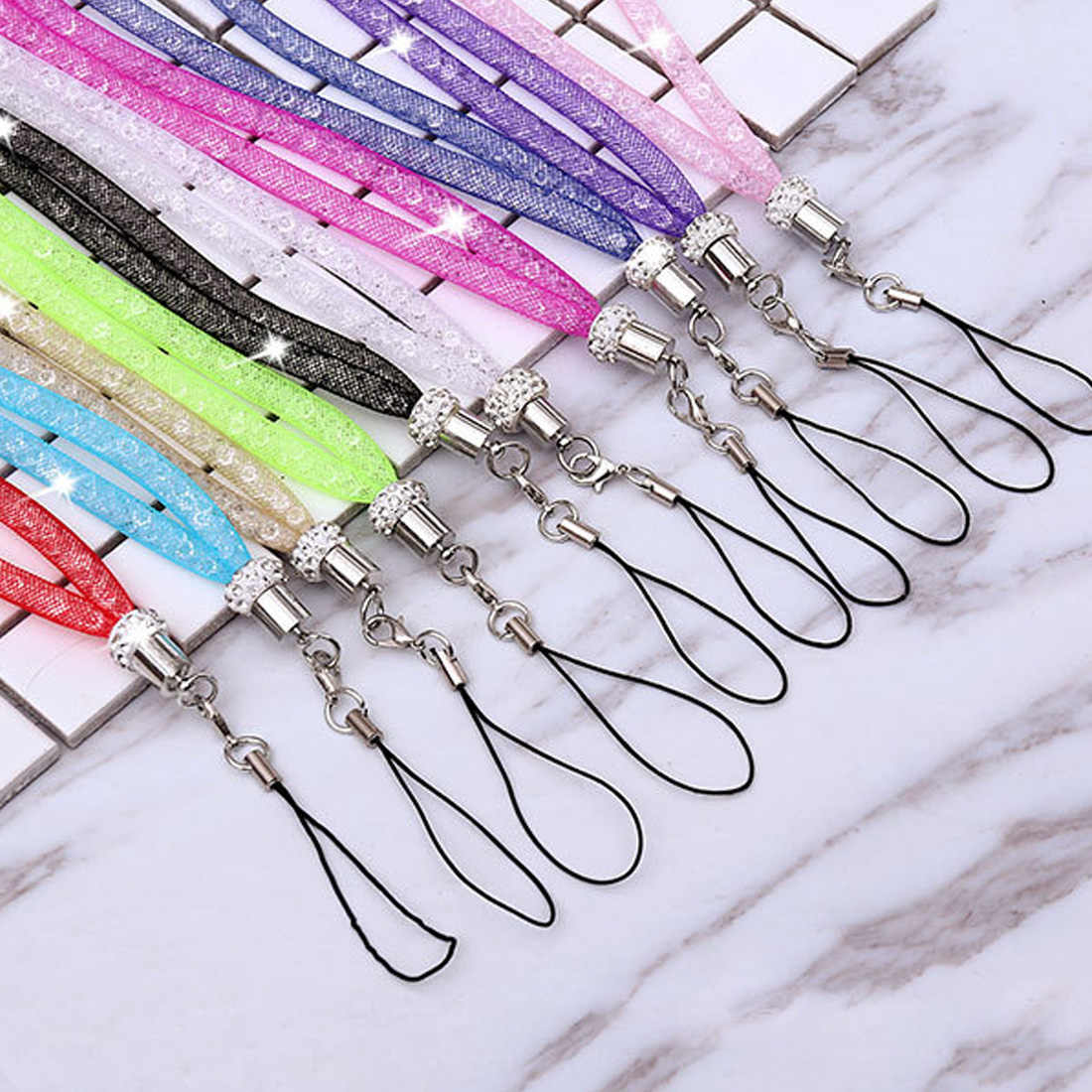 ABAY Crystal Neck Necklace Strap Lanyard U Disk ID Work Card Mobile Cell Phone Chain Straps Keychain Phone Hang Rope for Iphone