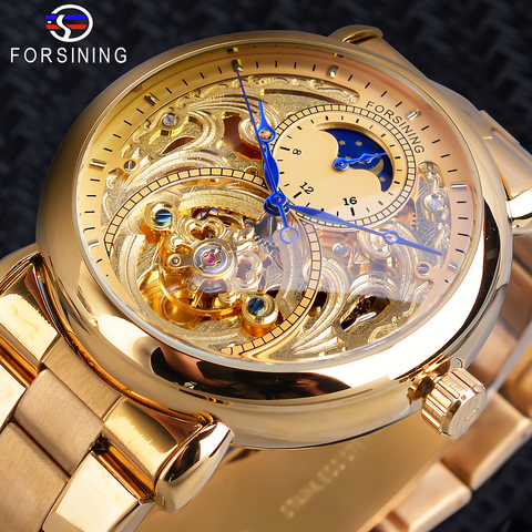 Relógio de Negócios dos Homens Fase da Lua Forsining Automático Mecânico Ouro Cinta Relógios Pulso Marca Superior Relógio Masculino Aço